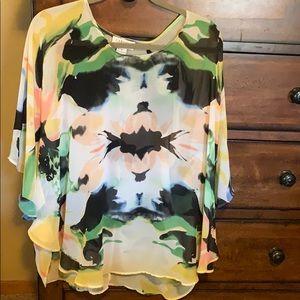 Carmen Marc Valvo colorful 3/4 sleeve tunic top